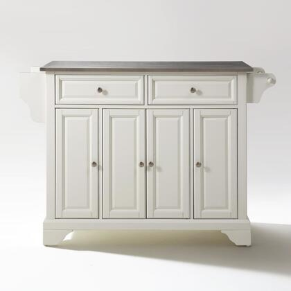 Lafayette Collection KF30002BWH Stainless Steel Top Island/Cart in White