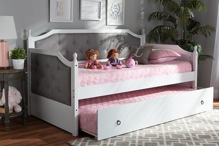 Baxton Studio 130.3 lbs. MG0014GREYWHITEDAYBED Bed White, 9626 8