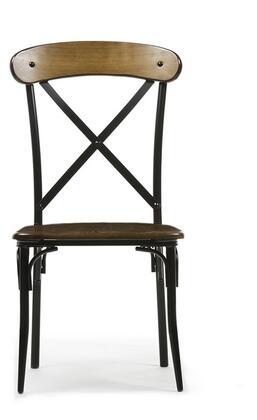 Baxton Studio CDC222-DS2 Set of 2 Broxburn Bar Stool with Rectangular Backrest Cross Slats Black Tubular Metal Construction and MDF Seat in Brown