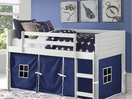 795-ATW_750C-TB 79″ Twin Louver with Blue Colored Tent  Built in Ladder  Panel Headboard and Footboard in