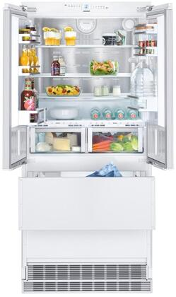 36″ French Door Refrigerator with 80″ Height Door Panels and Oval Handles in Stainless