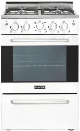 Unique Prestige UGP24VPC1W Freestanding Gas Range White, Main View