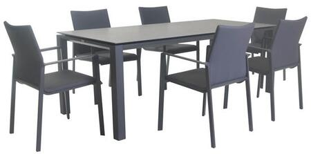 Fine Line Sense Collection LF08407LVB2045CT 7 Piece Outdoor Dining Set with Rectangular Ceramic Table Top  Powder-Coated Aluminum Frame and Quick-Dry
