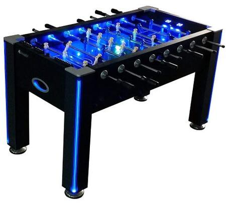 G01344W 58″ Azure LED Light UP Foosball Table with Led Lighted Rails and Game Music and Sound Effects USB Cable
