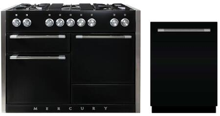 """2 Piece Kitchen Appliances Package with AMC48DFBLK 48"""" Dual Fuel Gas Range and AMCTTDWBLK 24"""" Built In Fully Integrated Dishwasher in Gloss"""