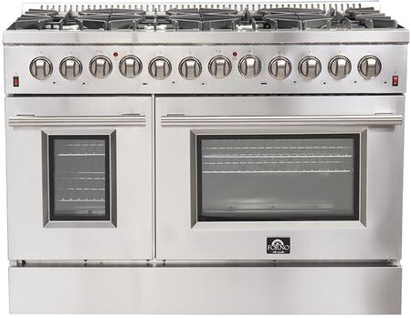 FFSGS6156-48 48″ Stainless Steel Dual Fuel Range with 6.58 cu. ft. Total Capacity  8 Italian Defendi Burners  Convection Fan and Cast Iron