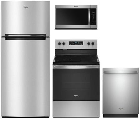 4 Piece Kitchen Appliances Package with WRT518SZFM 28″ Top Freezer Refrigerator  WFE505W0JZ 30″ Electric Range  WMH31017HZ 30″ Over the Range