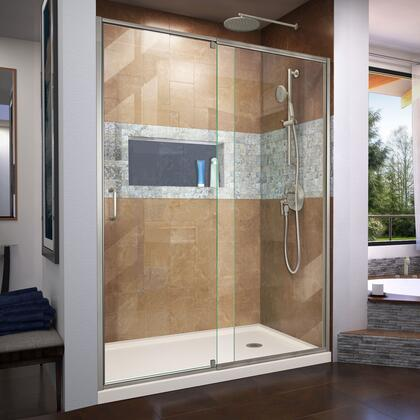 DL-6223R-22-04 Flex 32″ D x 60″ W x 74 3/4″ H Semi-Frameless Shower Door in Brushed Nickel with Right Drain Biscuit Base