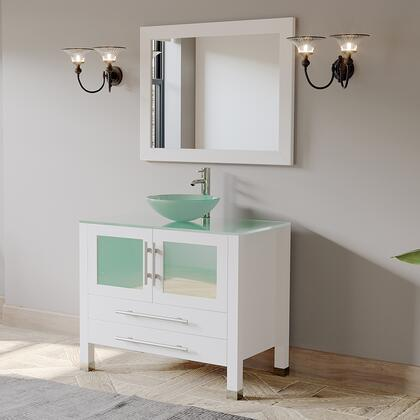 8111BW-CP 36″ White Solid Wood and Glass Single Vessel Sink Vanity set with a Chrome Faucet and