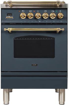 Ilve Nostalgie UPN60DMPGU Freestanding Dual Fuel Range Blue Grey, Blue Grey Dual Fuel Range