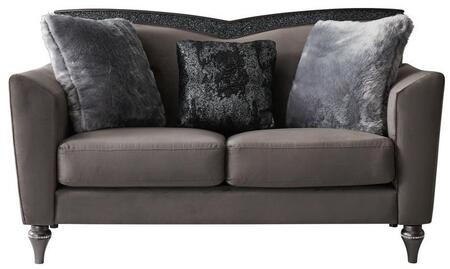 UFM801-DRK GRY VELVET CC-68-LS Loveseat with 3 Pillow Includded and Attached Back Cushions plus Flare Tapered Arms in Dark