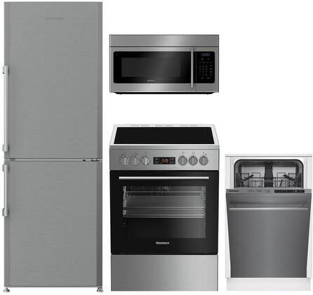4 Piece Kitchen Appliances Package with BRFB1044SS 24″ Bottom Freezer Refrigerator  BERU24102SS 24″ Electric Range  BOTR30100SS 30″ Over the Range
