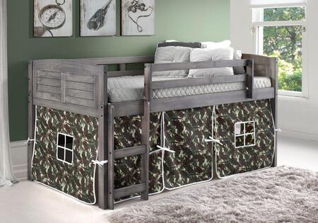 790-AAG_750C-TC 78″ Twin Louver Low Loft Bed with Built in Ladder  Camo Tent  Panel Headboard and Footboard in Antique