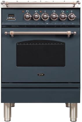 Ilve Nostalgie UPN60DMPGUYLP Freestanding Dual Fuel Range Blue Grey, Blue Grey Dual Fuel Range