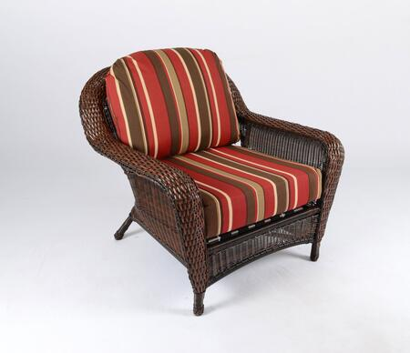 Sea Pines Collection LEX-C1-J-MONS Club Chair in Java Wicker and Monserrat Sangria Fabric