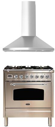 2 Piece Kitchen Appliances Package with UPN76DMPIX 30″ Dual Fuel Range and TEGA30 30″ Wall Mount Convertible Hood in Stainless