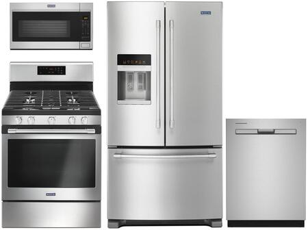 4 Piece Kitchen Appliances Package with MFI2570FEZ 36″  French Door Refrigerator  MGR6600FZ 30″ Gas Range  MMV4207JZ 30″ Over the Range Microwave and