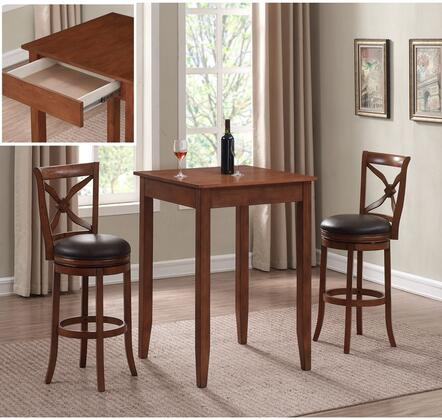 American Woodcrafters Provence P2201B2013PC Bar Table Set Brown, main image master AWR1191
