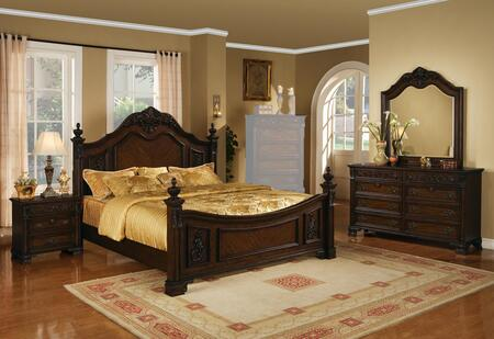 Kensington Collection KE18KNMDR 4-Piece Bedroom Set with King Bed  Nightstand  Mirror and Dresser in Distressed
