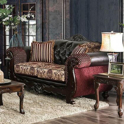 Furniture of America Quirino SM6415LV Loveseat Brown, Main Image