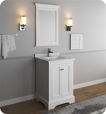 Windsor Collection FVN2424WHM 24″ Matte White Traditional Bathroom Vanity with