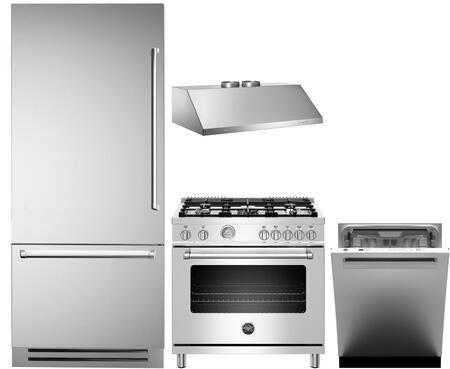 4 Piece Kitchen Appliances Package with REF36PIXL 36″ Bottom Freezer Refrigerator  MAST365DFMXE 36″ Dual Fuel Range  KU36PRO2X14 36″ Wall Mount