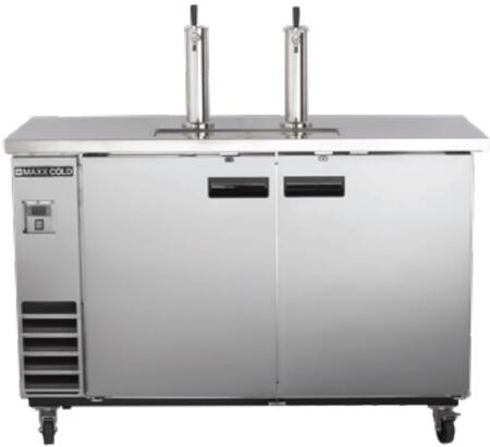 MXBD60-2S 62″ X-Series Keg Cooler with 14.2 cu. ft. Capacity  Dual Towers  4″ Casters and Self-Contained Forced Air Refrigeration System in Stainless