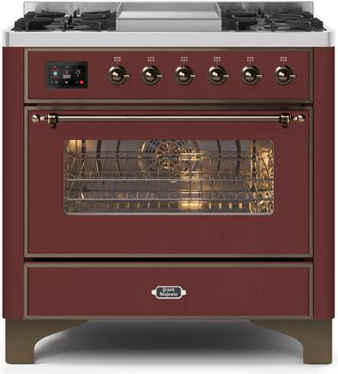 UM09FDNS3BUB 36″ Majestic II Series Dual Fuel Natural Gas Range with 6 Burners and Griddle  3.5 cu. ft. Oven Capacity  TFT Oven Control Display