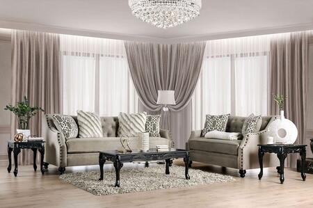 Furniture of America Ezrin SM2668SFSET Living Room Set Beige, Living Room Set