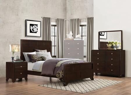 Phoenix Collection PH28QNMDR 4-Piece Bedroom Set with Queen Bed  Nightstand  Mirror and Dresser in Cherry