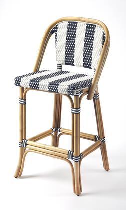 Lila Collection 3715291 Bar Stool with Transitional Style  Rectangular Shape and Rattan Material in Blue