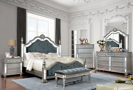 Furniture of America Azha CM7194CKBEDNCDMB Bedroom Set Silver, CM7194CKB-NCDMB