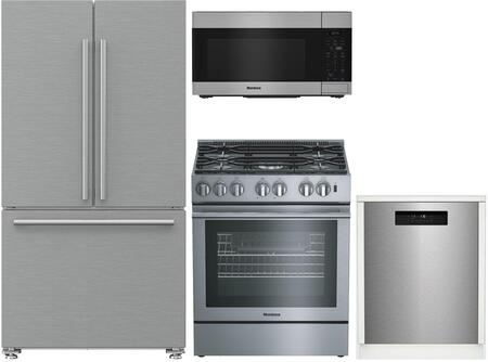 4 Piece Kitchen Appliances Package with BRFD2230SS 36″ French Door Refrigerator  BGRP34520SS 30″ Gas Range  BOTR30100SS 30″ Over the Range Microwave