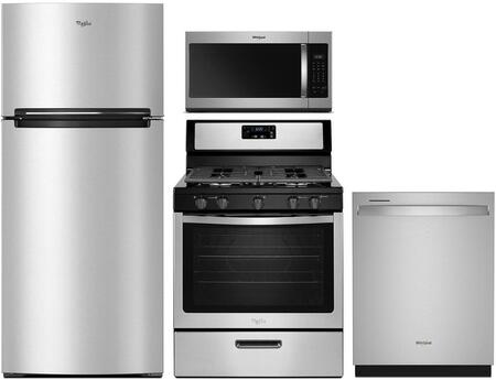 4 Piece Kitchen Appliances Package with WRT518SZFM 28″ Top Freezer Refrigerator  WEG515S0FS 30″ Slide-in Gas Range  WMH31017HZ 30″ Over the Range