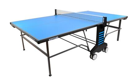 7137-960A Indoor 6 Table Tennis Table with Single Hand Locking Mechanism  Ball Box for Ball Collection  2.5″ Elliptical Steel Legs and 5.5″ Dual