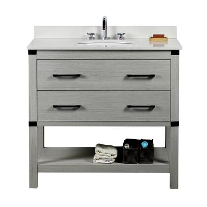 808175-36-GP-WEO 37″ Single Vanity In Gray Pine Finish Top With White Quartz And Oval