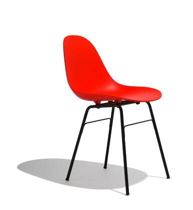 TA Collection TO-1711R-1502B Upholstered Side Chair/Er Base Black Powder Coated/Red