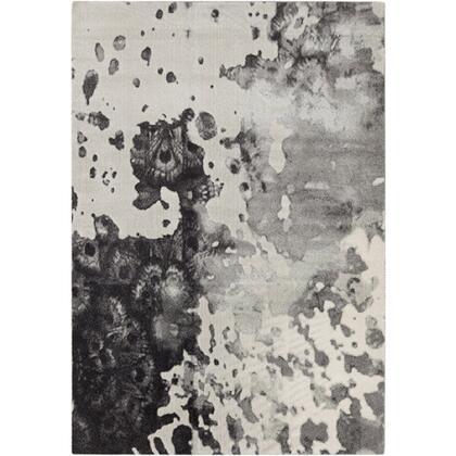 Aberdine ABE-8016 9′ x 12'3″ Rectangle Modern Rugs in Medium Gray  Charcoal  Black