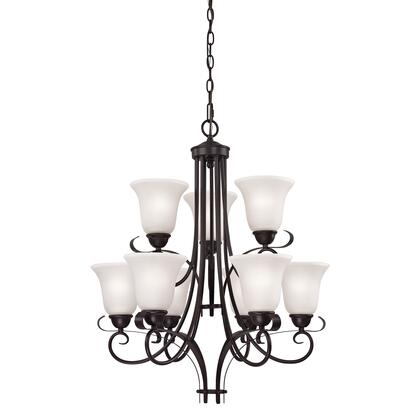 1059CH/10 Brighton 9-Light Chandelier in Oil Rubbed Bronze with White