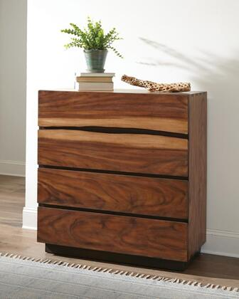 Winslow Collection 223255 40.25″ Chest with Four Storage Drawers  Fingertip Pull Drawers and English Dovetails Front and Back in Smokey Walnut/Coffee