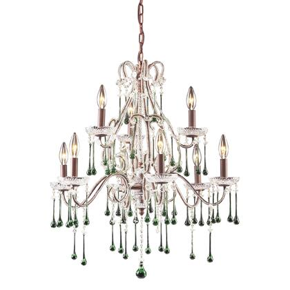 4013/6+3LM Opulence 9-Light Chandelier in Rust with Lime