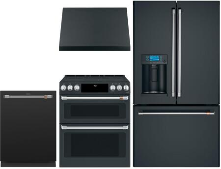 4 Piece Kitchen Appliances Package with CYE22TP3MD1 36″ French Door Refrigerator  CES750P3MD1 30″ Slide-in Electric Range  CVW93013MDS 30″ Pro Style