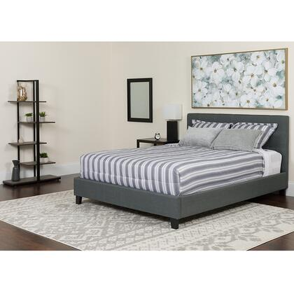 HG-BMF-32-GG Tribeca King Size Tufted Upholstered Platform Bed in Dark Gray Fabric with Memory Foam