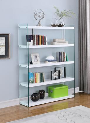 74101-BKS Contemporary Book Case with White Gloss Finish in