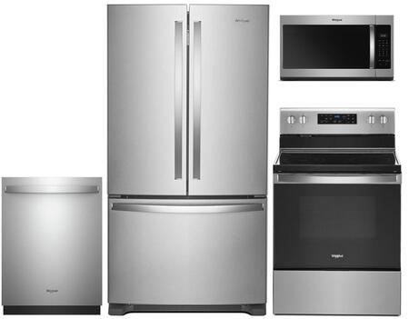 """4 Piece Stainless Steel Kitchen Package with WRF535SWHZ 36"""""""" French Door Refrigerator  WFE525S0HS 30"""""""" Electric Range  WDT730PAHZ 24"""""""" Fully Integrated Dishwasher -  Whirlpool, 959877"""