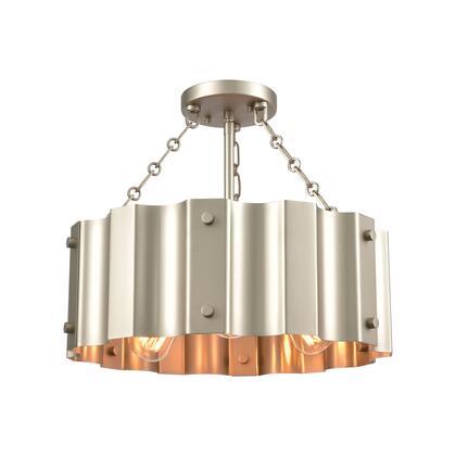 89056/3 Clausten 3-Light Semi Flush in Matte Nickel with Satin Nickel Metal