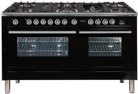 """Ilve Professional Plus UPW150FDMPNLP Freestanding Dual Fuel Range Black, UPW150FDMPM 60"""" Professional Plus Range"""
