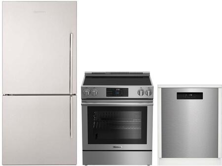 """3-Piece Kitchen Appliances Package with BRFB1812SSLN 30"""" Bottom Freezer Refrigerator BERU30420SS 30"""" Electric Range and DWT52600SSIH 24"""" Built In"""