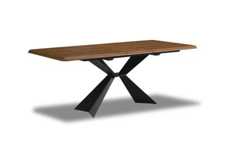 1712DININGTABLE Dining Room Table with Uniquely Designed Base  Extendable and Wood Veneer Top in