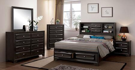 Furniture of America Carlynn CM7555EKBEDNSCHDRMR Bedroom Set Gray, CM7555EK-BED-NSCHDRMR